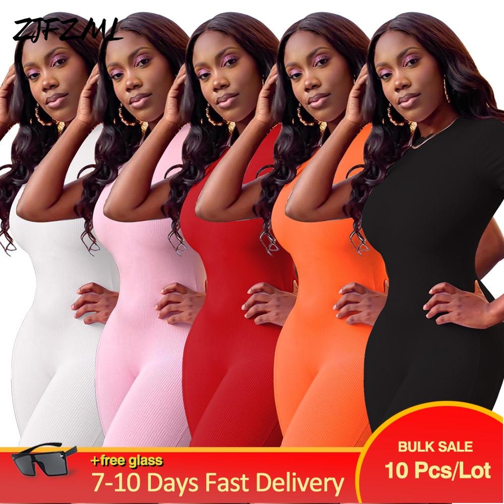 Wholesale Bulk Items Lots Women Sporty Playsuit Solid Designer Casual Short Sleeve Bodycon Jumpsuit Active Wear Slim Outfits