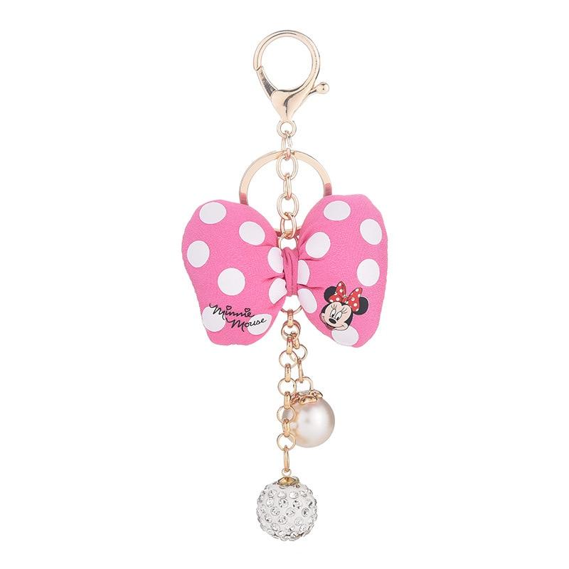 Disney Микки и Минни Маус, брелки для ключей с бантом цепочка для ключей брелки Porte Clef с сумкой для женщин, кольцо для ключей держатель аксессуар...