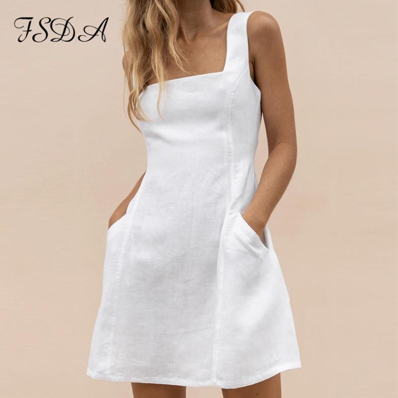 FSDA-vestido veraniego con bolsillos, corte A, informal, para mujer, con Espalda descubierta, con volantes, sin mangas y sin hombros, color blanco