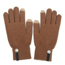 Women's Cashmere Wool Knitted Gloves Winter Warm thick Touch Screen Gloves Solid Color Men Mittens f