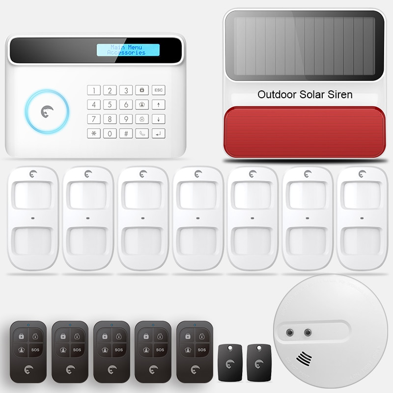 IOS Android APP Control Wireless Home Security GSM Alarm System Remote Control smoke sensor Autodial Smart with outdoor siren enlarge