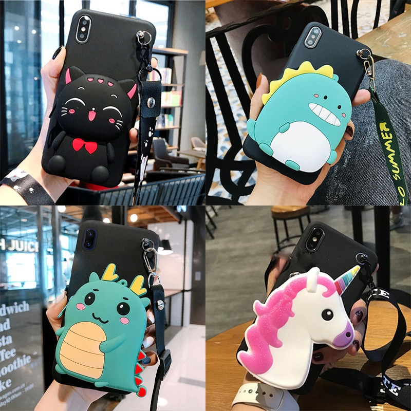 Cartoon 3D Silicone Cat Wallet TPU Case For Doogee N20 N10 Y9 Plus Y8 Y7 X95 X9 X70 X60L X53 X50 BL5000 Mix Cute Soft Back Shell