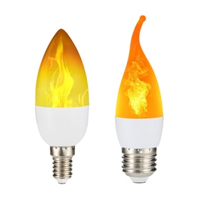 E27 светодиодный лампы в форме свечи лампы E14 с эффектом пламени 110V Светодиодный эффект пламени огня светильник лампы 220V 240V мерцание Декор светодиодный потолочный светильник
