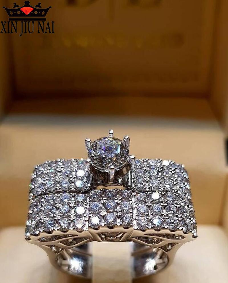 Anillo de compromiso con diamantes blancos de cristal de lujo CZ para boda, vestido de compromiso, joyería de banquete de boda, anillo elegante para mujer