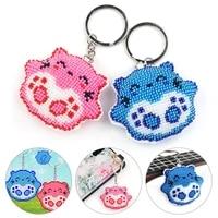 stamped diy animal cat handmade craft bead cross stitch keychain printed embroidery needlework key ring kit pendant decor 2021