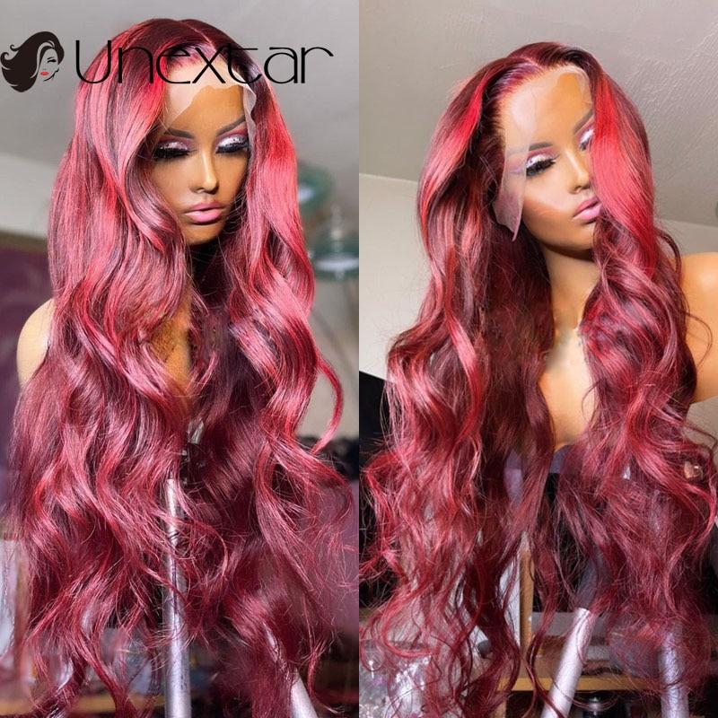 untar 13 × 4 ombre 99 j perucas transparentes do cabelo humano do laco colorido peruca