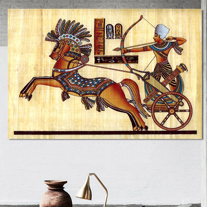 Telón de fondo egipcio jeroglíficos antiguos armas reina pagar Tribute elementos antiguos de Egipto lienzo pintura decoración de Arte de pared