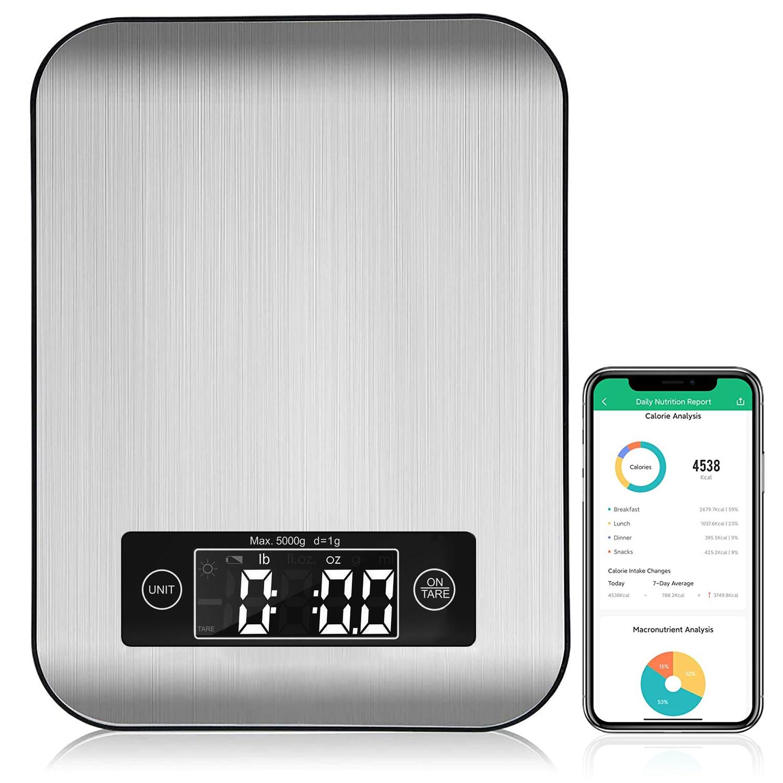 Ataller المطبخ الذكي ميزان المطبخ بلوتوث الإلكترونية APP ميزان الوزن الرقمي مع تحليل التغذية 5 كجم الفولاذ المقاوم للصدأ