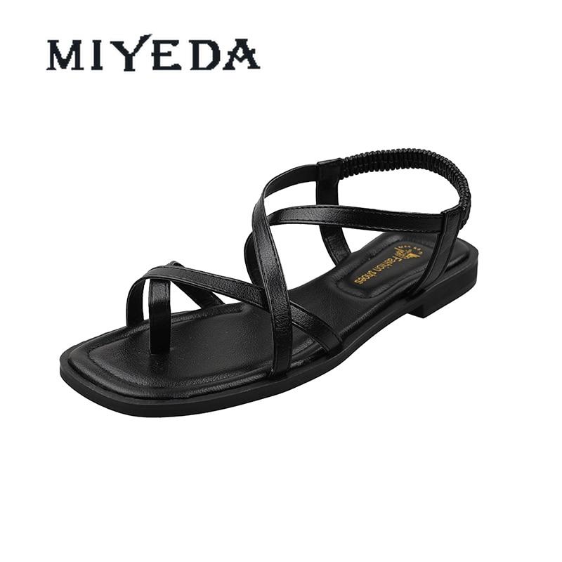 MIYEDA Women Summer Sandals Fashion Elastic Band Back Trap Casual Female Shoes Shallow Beach Handmade Woman's Flats