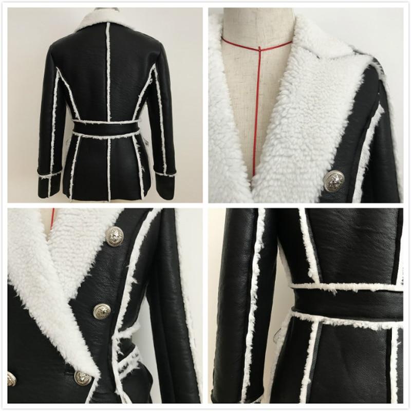 Autumn Winter Leather Jacket Women Double Breasted Coat Ladies Slim Motorcyle Biker Jacket Female Fashion Warm Plush Outerwear enlarge