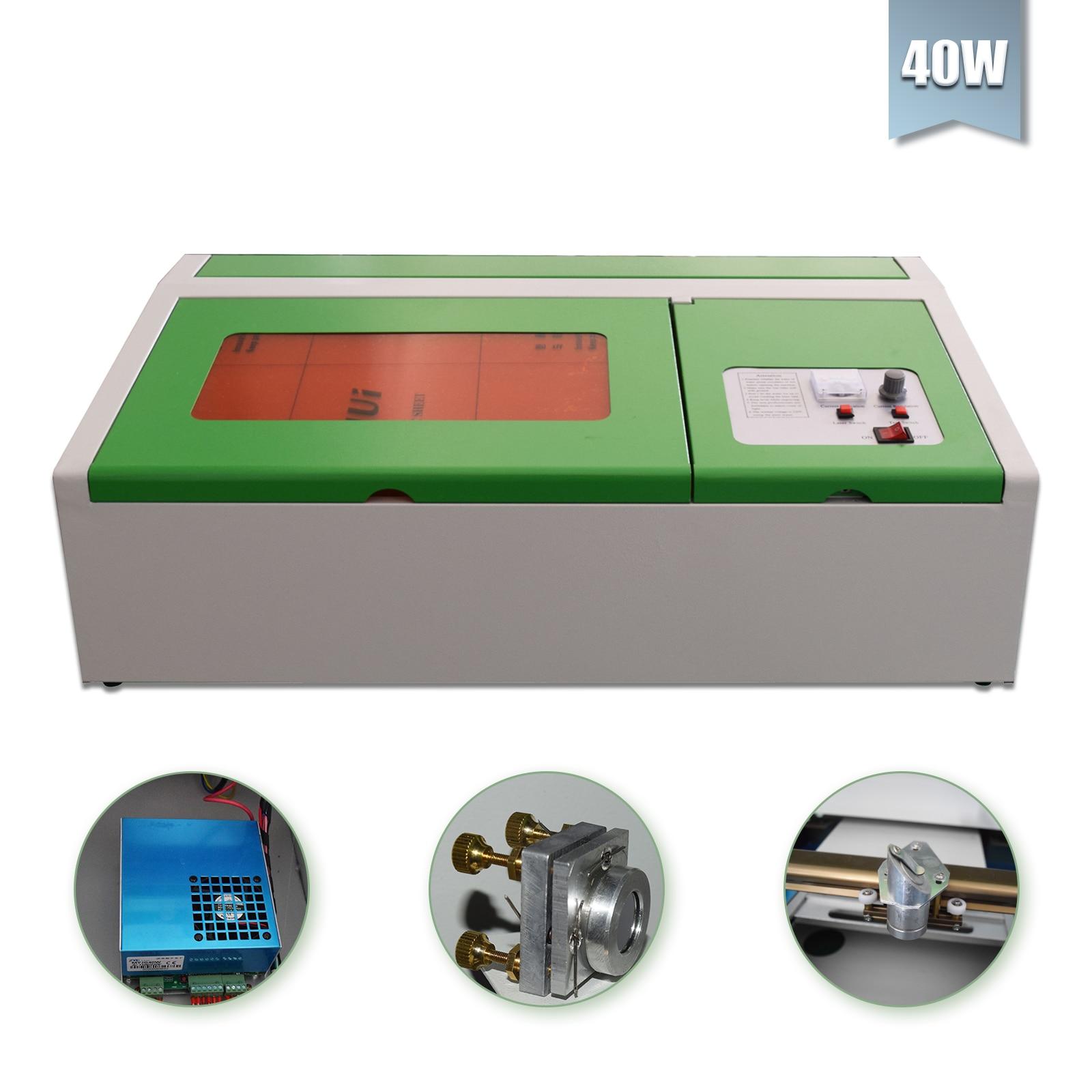 Máquina cortadora de grabado láser CO2 USB de 40W, cortador de grabado de madera de 300x200mm
