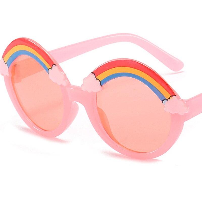 Детские радужные круглые маленькие солнцезащитные очки 2021 модные милые круглые ретро очки для детей винтажные классические крупные очки