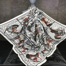 19 new lady fashion 130cmX130cm  square scarf, twill silk muffler Muslim headscarf  Russian style carriage shawl