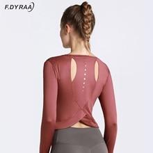 F.DYRAA Quick Dry Women Loose Shirts Back Hole Sports Tops Yoga T-shirt Running Gym Long Sleeve Yoga Breathable Shirts