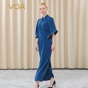 VOA Heavy Silk Blue Lapel Insert Shoulder-load Leaf Sleeve High Waist Three-dimensional Cut Straight Cylinder Jumpsuits KE225