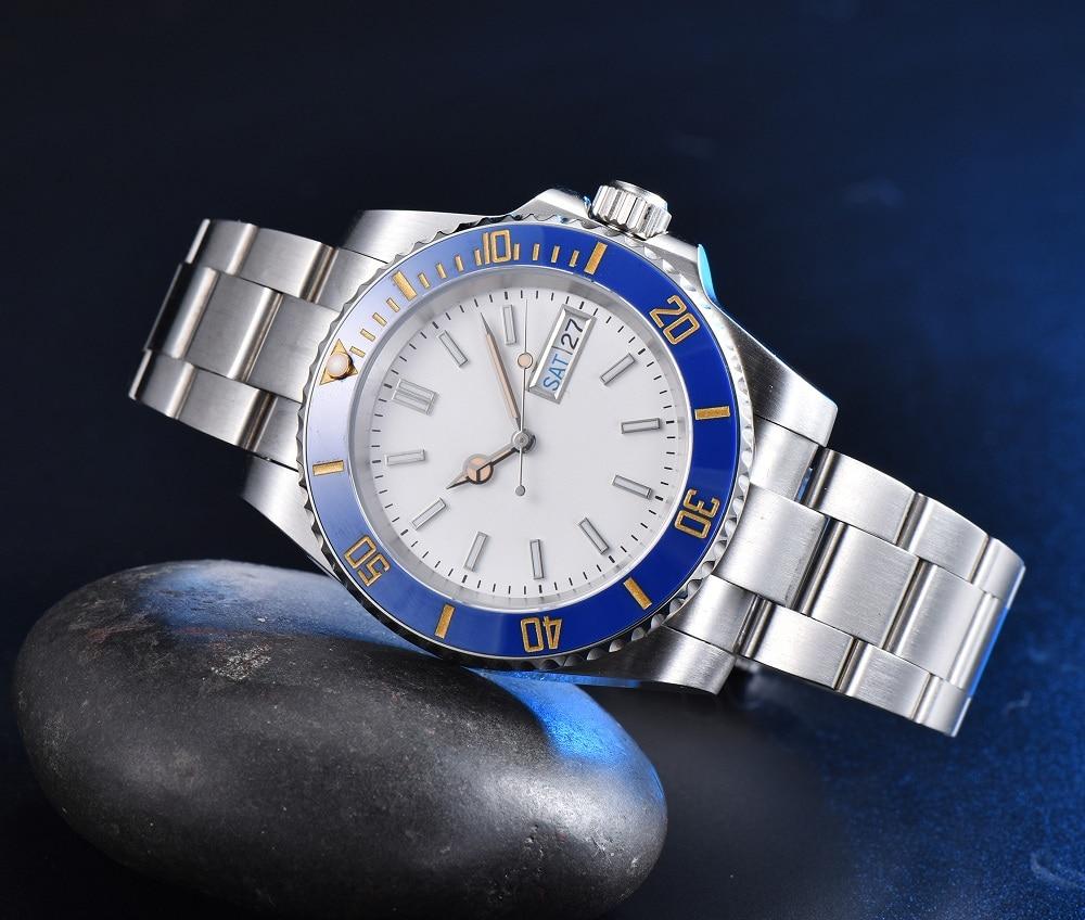 العقيمة قطاع مسمار سطح الرجال التلقائي ساعة ميكانيكية NH36A حركة حاوية من الفولاذ المقاوم للصدأ الأزرق خاتم من السيراميك مرآة مسطحة