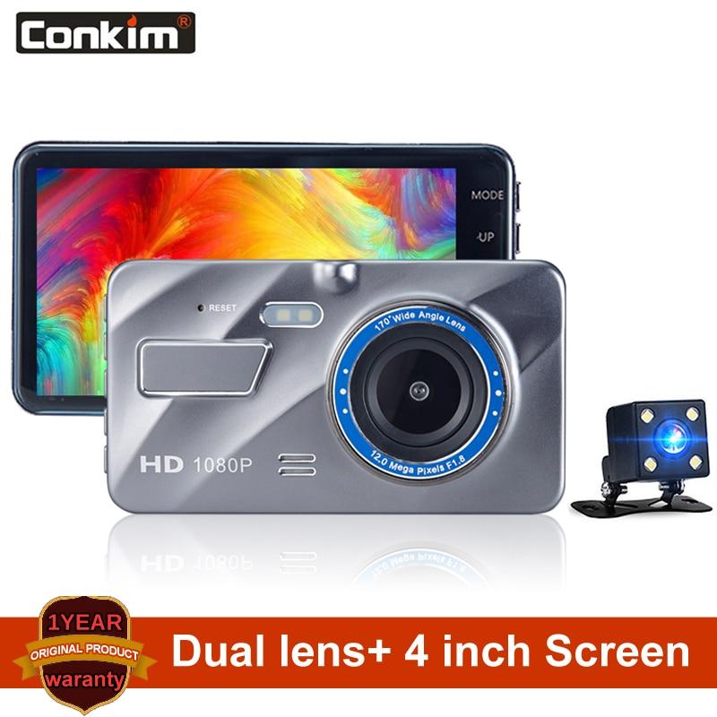 Conkim Auto DVR Full HD 1080P 4 Inch IPS Bildschirm Auto Kamera Dual Objektiv Dash Cam Video Recorder Nacht vision G-sensor Registrato