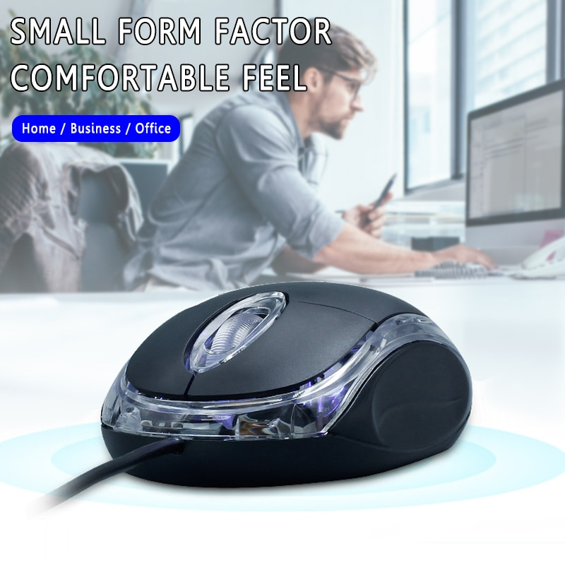 Black 1200DPI Gaming Mouse Wired Mouse USB Optical Wired Game Mouse Ant-skid Support Desktop Laptop Computer Peripherals