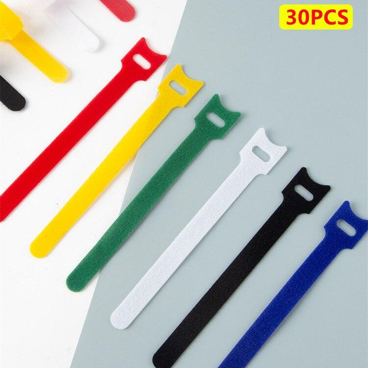Cable de nailon tipo T con Velcro, organizador reutilizable de doble cara,...