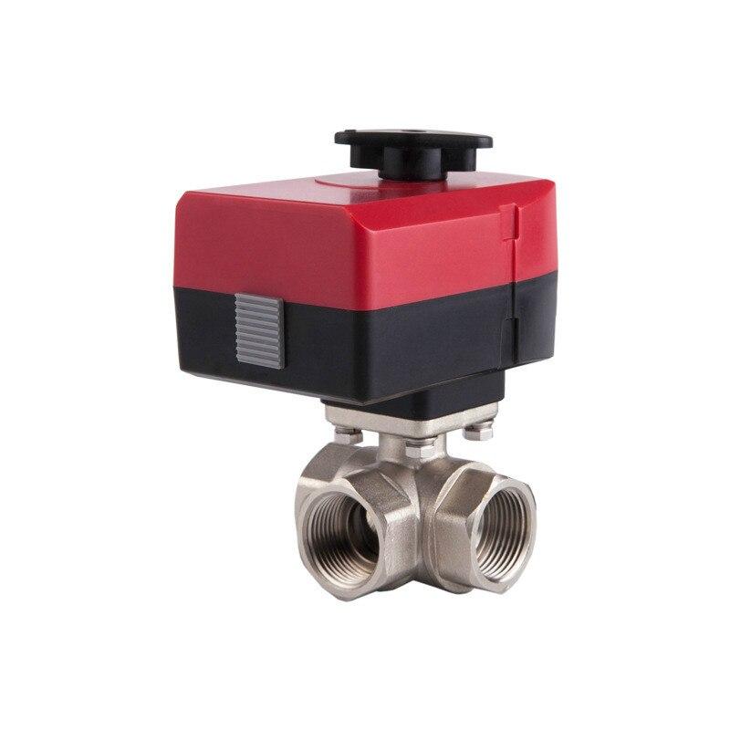 صمام كروي نحاسي كهربائي بمحرك ، يمكن أن يكون صمام ثلاثي الاتجاه يدويًا وتلقائي ، AC 220v 24v DN20 DN25 DN32 L