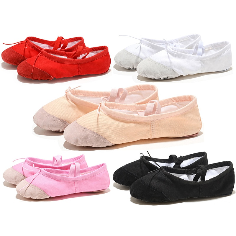 soft black red white pink flat teacher kids ballet shoes for girls women children canvas