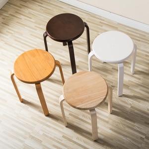 Современные резиновые деревянные стулья K/D, практичные круглые стулья для дома/ресторанов/отелей, 1 шт., маленькие деревянные стулья для дом...