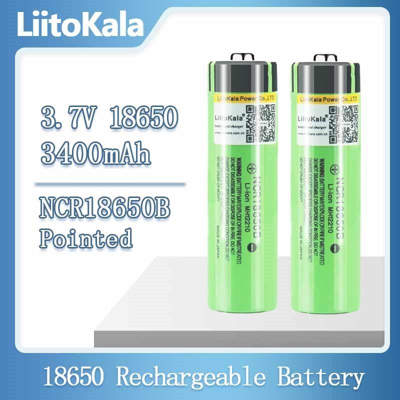Hot liitokala 100% New Original NCR18650B 3.7 v 3400 mah 18650 Lithium Rechargeable Battery For Flashlight batteries (NO PCB)
