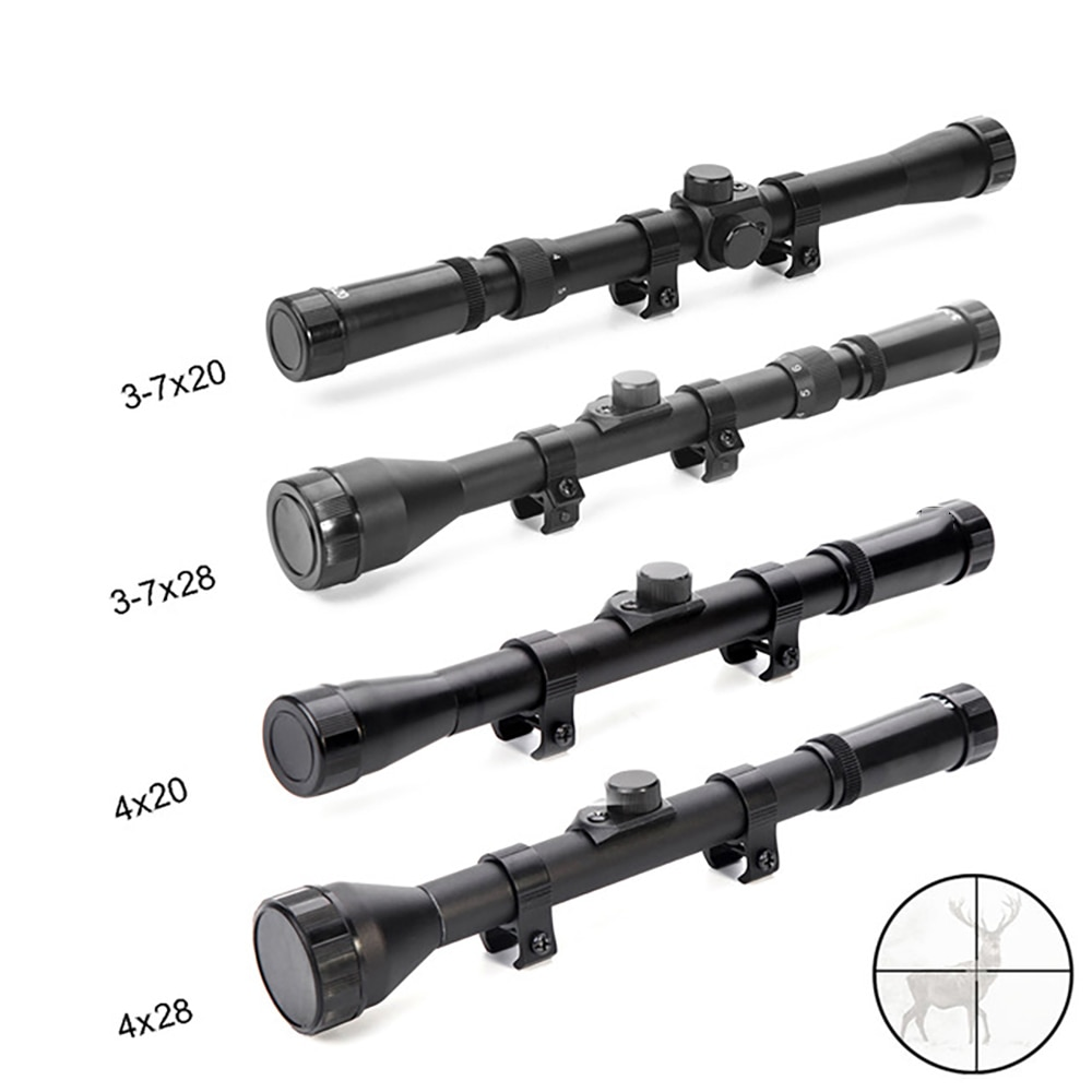 4x20 3in1 hunting rifle optic scope with red dot laser sight tactical crossbow riflescope 11mm rail mount for airsoft 22 caliber 3-7x28 3-7X20 4X28 4x20 Riflescope Telescopic Hunting Optics Sight Scope For Airsoft Rifle Gun Fit 11mm Mount Crosshair Scope