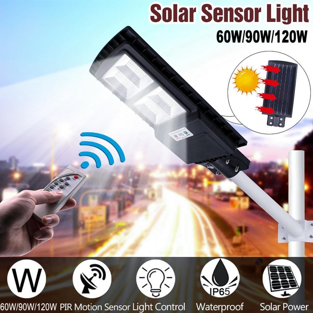 90W 160LED Solar Radar Sensor de movimiento farola al aire libre impermeable lámpara de pared con Control remoto para jardín Park