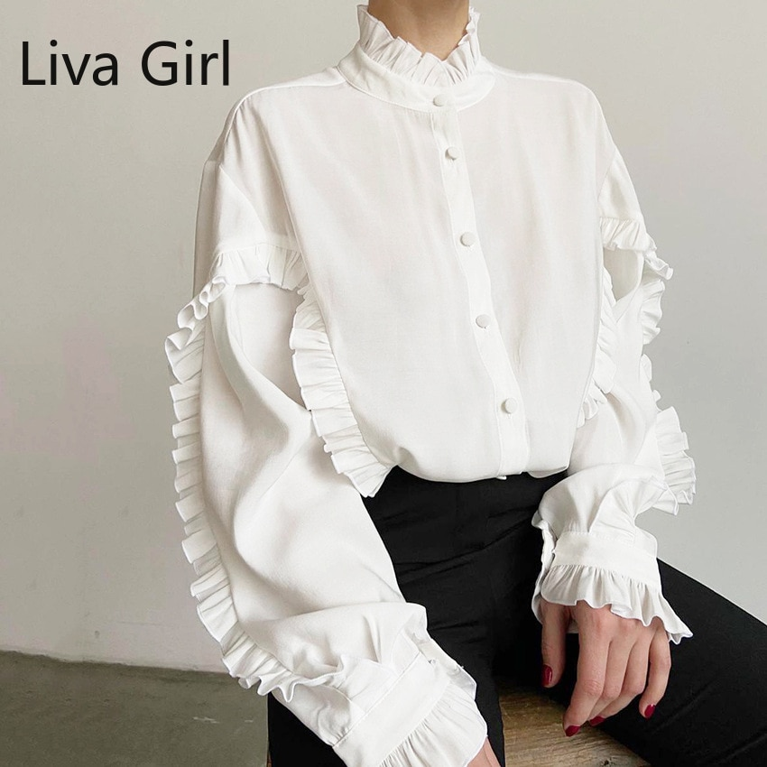 Button Up Stand Collar Long Sleeve Shirt 2021 Spring Women Tops Street Loose White Elegant Fashion Office Shirts Casual Blusas