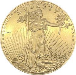 Estados unidos liberdade 1908 1908 d 1908 s vinte 20 dólares saint gaudens double eagle com lema em deus nós confiamos ouro cópia moeda