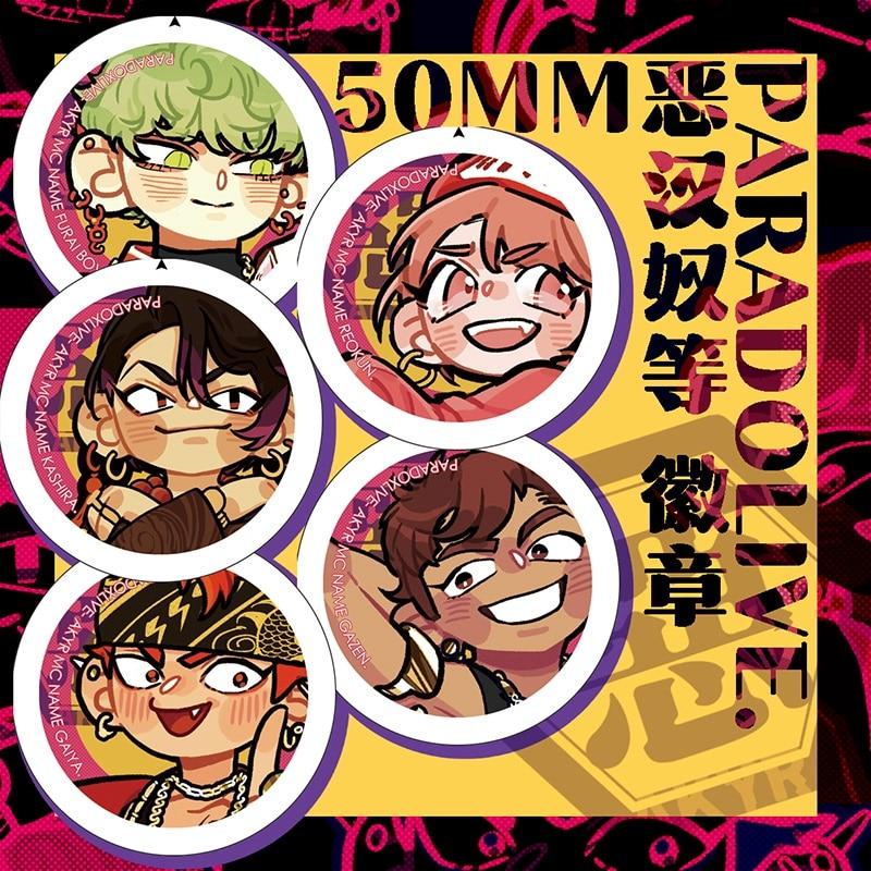 Anime Paradox Live Sugasano Aren Yon Hajun Yatonokami Kanata 50MM Badge Souvenir Button Brooch Pin M