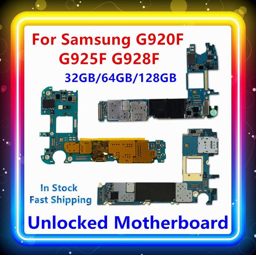 Para Samsung Galaxy S6 G920F placa base S6 edge G925F placa base S6 edge + G928F placa base 32/64/128gb en stock desbloqueado