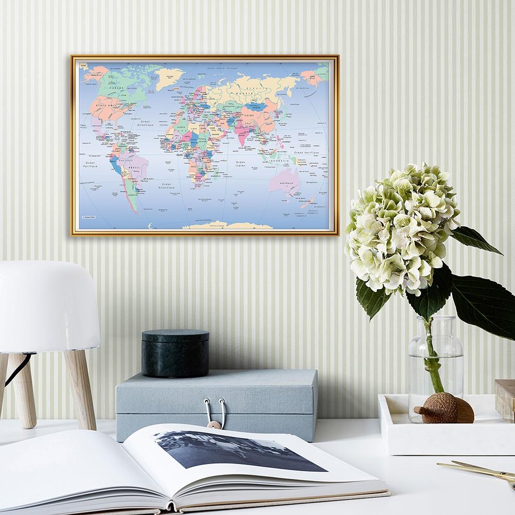 A2 размер карта мира политическая во Франции настенный Декор Современный плакат холст живопись офис Домашний декор школьные принадлежности