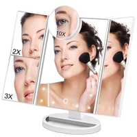 touch screen backlit makeup mirror with led light vanity cosmetic mirror for table 2x3x10x magnification 3 folding adjustable