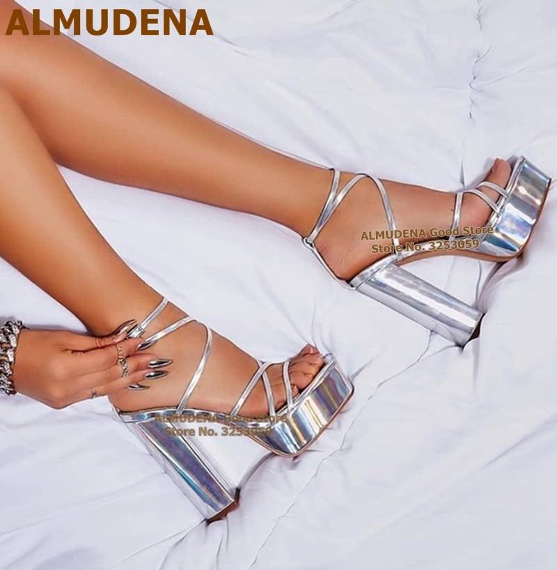 ALMUDENA-صندل فضي لامع للنساء ، حذاء بكعب سميك ، كعب عالي لامع عاكس ، مقاس 47