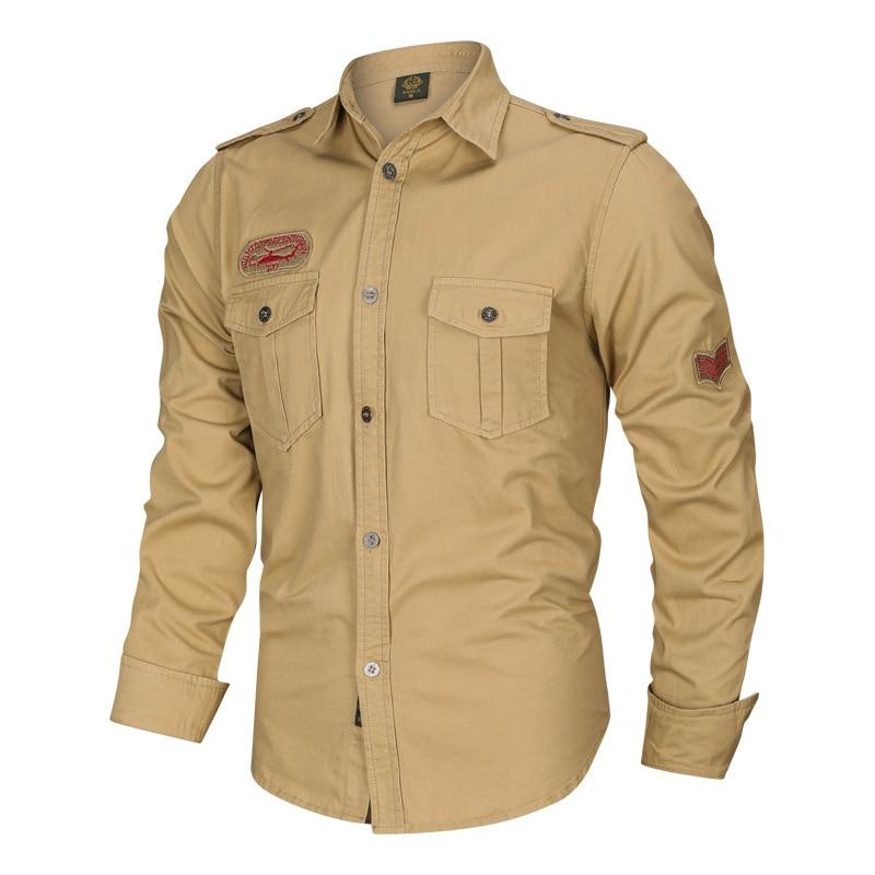 Бренд Thoshine для мужчин, повседневные брюки-карго рубашки 100% хлопок Сафари полный рубашка с длинными рукавами в стиле милитари Camisa уличная то...