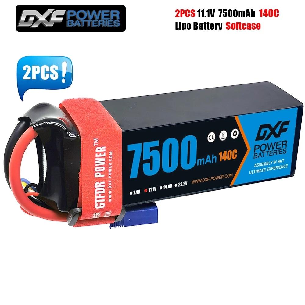 DXF RC Lipo Battery 4S 3S 2S 14.8V 11.1V 7.4V 7500mah 6750mah 6500mah 5200mah 8000mah 140C 100C 110C Battery for Car Boat Truck enlarge