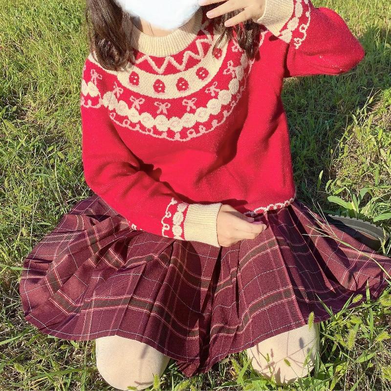 Red Blue JK Sweater Coats O Neck Navy Sailor Suit Japanese School Uniform Sweater Girls Pleated Vintage Coat For JK dress