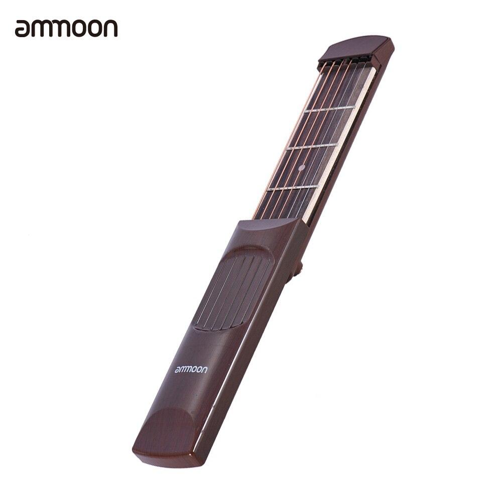 Ammoon portátil bolsillo guitarra acústica Gadget cuerda Trainer 6 cuerdas 4 traste palisandro grano de madera para principiantes