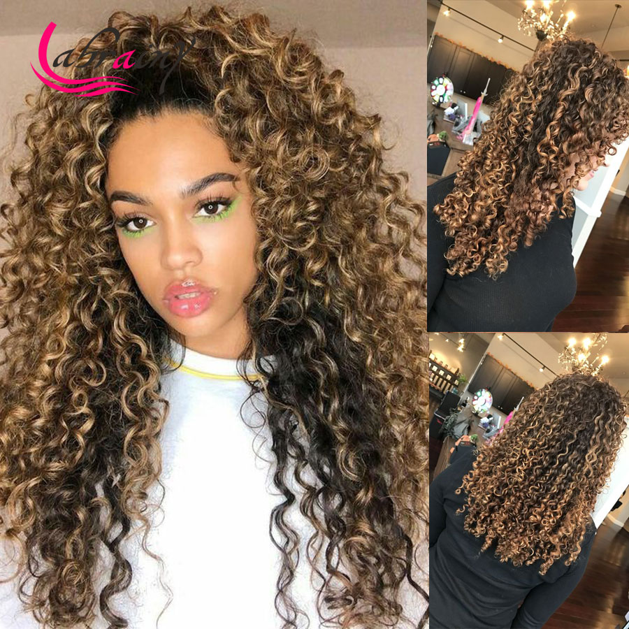 13x6 Kinky Curly HD Transparent Lace Frontal Human Hair Wigs Honey Blonde Front Deep Wave Wig Brown Pre Plucked
