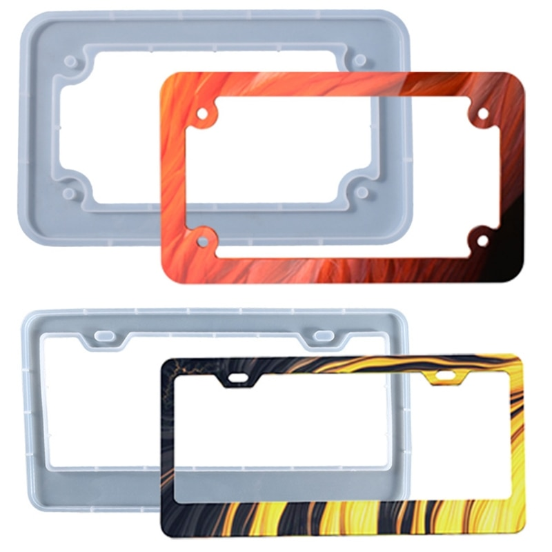 durable transparent license plate cover frame for usa plastic license tag cover holder vehicle car styling modified 31cmx16cm License Plate Frame Epoxy Resin Mold Car License Plate Protective Cover Silicone Mould DIY Crafts Casting Tools