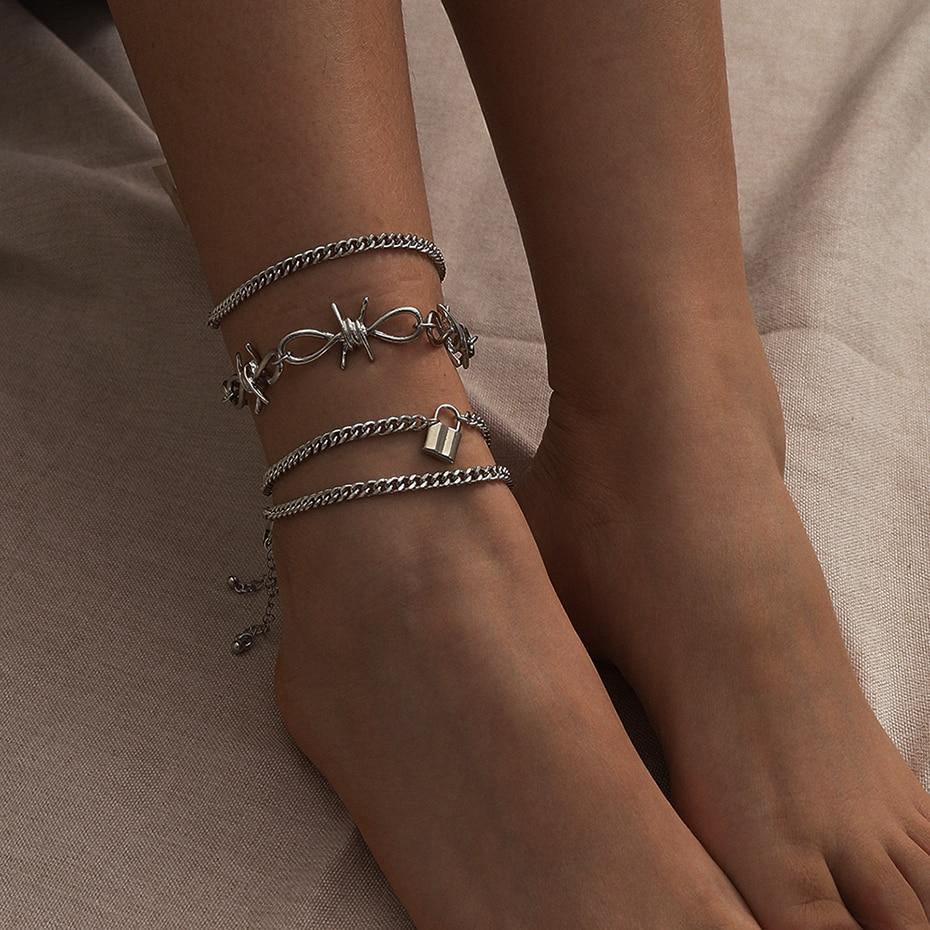 IngeSight.Z 4 unids/set tobilleras con colgantes con candado de múltiples capas, pulseras de Hip Hop Thorns, sandalias de hierro descalzo en el tobillo del pie, joyería