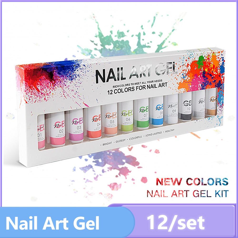 8ml 12 Colors Nail Art Gel Soak Off UV LED Gel Nail Polish Painting Gel Nails DIY Drawing Decoration Varnishes Manicure Tools