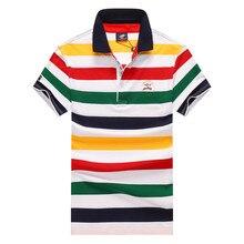 2019 Summer Tops & Tee Short Sleeve Man T Shirt Tace & Shark Brand Striped T-shirt Men Camisetas Hombre Turn-down Collar Tshirt