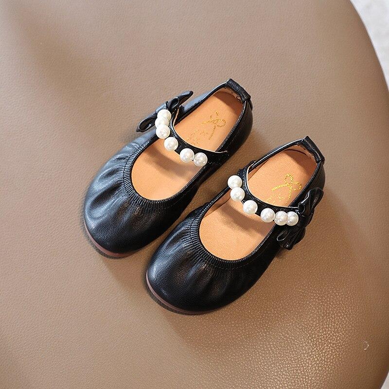 outono meninas novo arco princesa perola sapatos 2021 criancas arco sapatos de couro