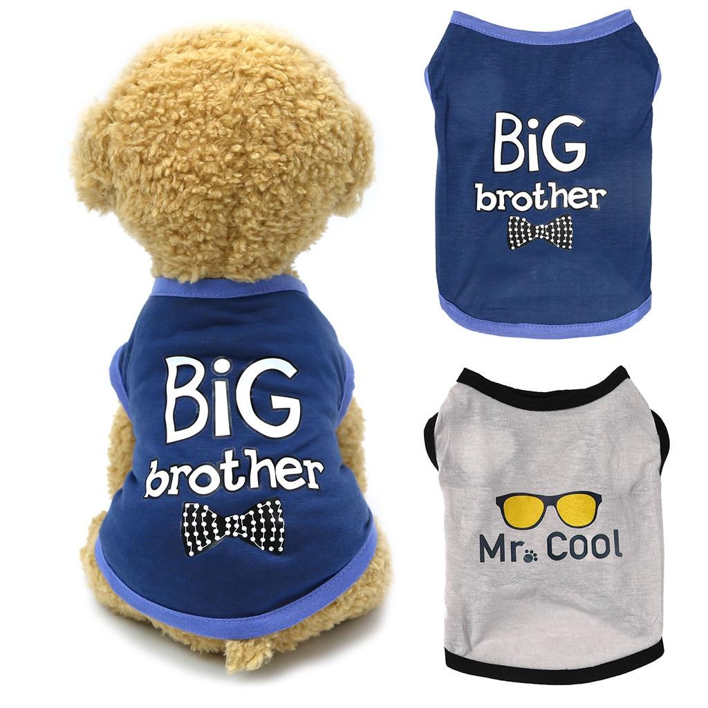 Perro de mascota de la Carta pintura chaleco pequeño de la camisa del animal doméstico gato Perro Ropa de algodón Ropa de perros T camisa Perro Ropa de verano Ropa de Perro
