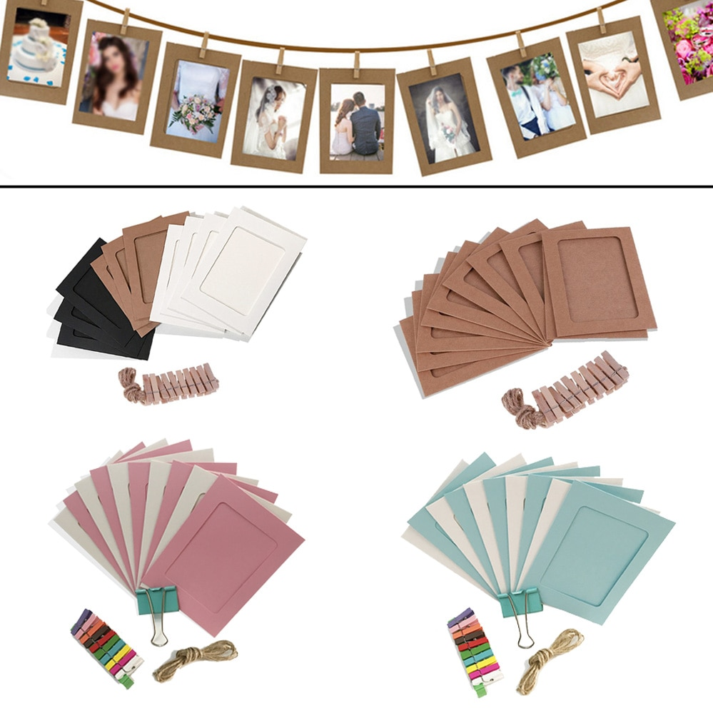 AliExpress - 10PCS DIY Photo Frame Paper Picture Wall Decoration For Wedding Graduation Party Photo Booth Props Wall hanging Photos Frames