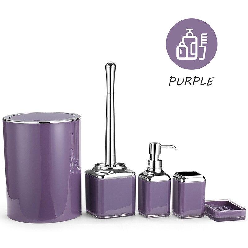 Bathroom Set Acrylic Bathroom Wash Storage Set Toothbrush Holder Toilet Brush Soap Dispenser Soap Box Trash Can Household Goods enlarge