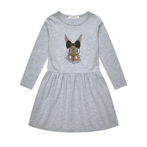 Girls Dress Spring and Autumn New Casual Cotton Cartoon Rabbit Print Long-sleeved Childrens Dress 3-6 Years Children Clothing